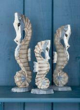 3 Fair Trade Hand Carved Wooden Seahorses Animal Sculpture Ornament Statue Bath