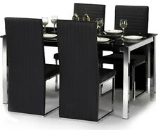 Julian Bowen Tempo Dining Table + 4 Chairs - Black Glass / Chrome Finish