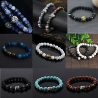 Handmade Men Women Lava Rock Bracelet Natural Gemstone Beads Buddha Lucky Beaded