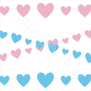 9ft Pink Blue Hearts Baby Shower Bunting Garland Decorations Gender Reveal Party
