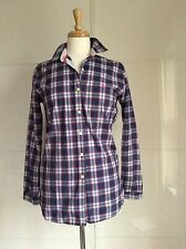 JACK WILLS WOMENS NAVY/BURGANDY CHECK BEST SELLING CLASSIC SHIRT/Top 10 RRP £59