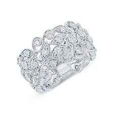 Womens 1.45 CT 18K White Gold Round Diamond Leaf Leaves Lace Ring Beaded Band