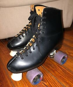 VTG DOMINION CANADA*MEN'S BLACK LACE-UP INDOOR ROLLER SKATES *SZ.10
