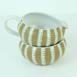 Vintage Ioska Denmark Pottery Small Bowl Creamer Pitcher Set MCM Handmade