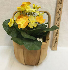 Yellow Flower Silk Artificial House Plant Potted & Basket w/ Liner Wood Lot 2