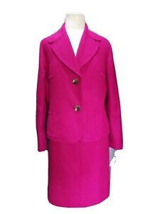 (18) NWT $386.Talbots 1960s Vintage Inspired Fuschia 2 PC.Melton Wool Skirt Suit
