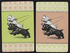 2 Single VINTAGE Swap/Playing Cards DOGS SCOTTIE & WESTIE ID 'SCAMPS DA-8-15'