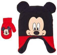 MICKEY MOUSE DISNEY Fleece-Lined Peruvian Beanie Hat & Mitten Set w/Ears NWT $22