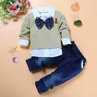 2pcs Toddler Baby Boys Kids Shirt Tops+Jeans Pants Clothes Outfits Gentleman Set