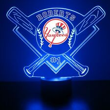 New York Yankees Night Light Lamp MLB Baseball Personalized FREE LED Light Up