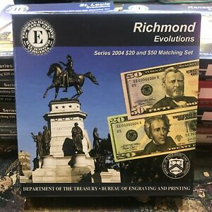 Richmond Evolutions Series 2004 $20 & $50 Matching Set Complete W/ COA Box