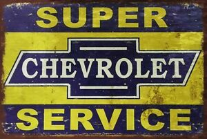 SUPER CHEVROLET CHEVY SERVICE CAR METAL TIN SIGN VINTAGE RETRO F.U.M. TOOLS FUM