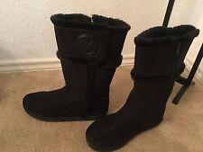 Michael Kors Winter Boots Sz 34 US 3 Alina Suede Faux Fur Black Tall Mid  Zipper
