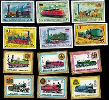 Eisenbahn Lokomotiven Ajman 12 Marken postfrisch **