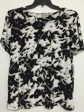 JM COLLECTION PLUS SIZE GARDEN COLLAGE FLORAL JACQUARD TOP BLOUSE TEE 0X NWT