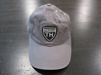 VINTAGE Tommy Hilifiger Strap Back Hat Cap Gray Blue Spell Out Adjustable 90s *