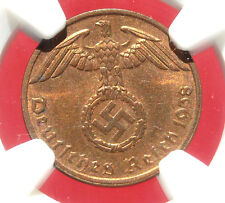 NGC MS-64 RB  NAZI SWASTIKA 1938-A  1 ReichPfennig COIN-Germany 3rd-REICH MINT!!