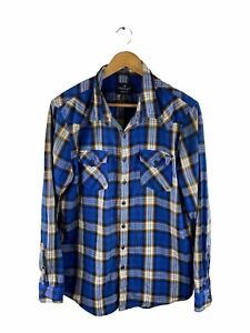 American Eagle Outfitters Button Up Shirt Mens Size XL Blue Check Pockets Casual
