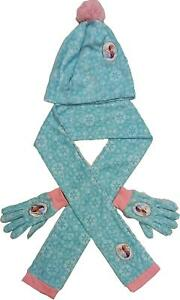 Disney Frozen Girls Hat Gloves and Scarf Set with Anna and Elsa 1.5-8 Years