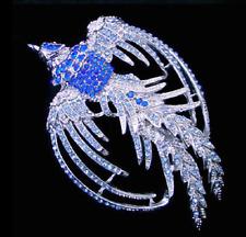 Brosche Anstecknadel Kristall Strass Phoenix Vogel blau silberfarben Nadel edel