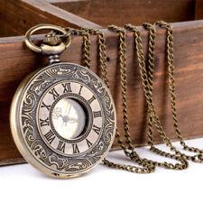 Antique Retro Bronze Roman Golden Dial Pocket Watch Necklace Pendant Gift Idea