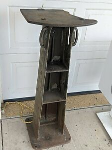 """Antique Vtg Cast iron  Machine Stand Industrial Table Base Steampunk 41"""" Tall"""