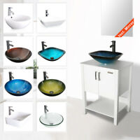"24"" Bathroom Vanity Cabinet W/ Mirror Vessel Sink Faucet Drain Combo White"