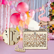 Large Wedding Card Post Box Collection Box Lock Wishes Advice Wooden Party  +