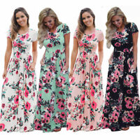 UK Womens Maxi Dress Boho Holiday Long Dresses Ladies Summer Beach Floral 6-20