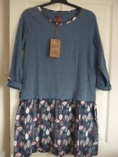 MANTARAY BLUE LEAF PRINT SKIRT JERSEY DRESS. UK 10, EUR 36-38, US 6. BNWT