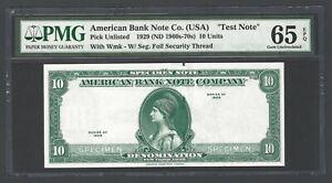 American Bank  ABNC 10 Units 1929(ND1960s-70) Test Note Specimen UNC Grade 65