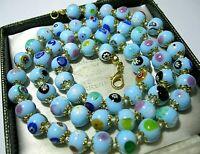 Turquoise Millefiori Venetian Murano Glass Bead Long Vintage Style NECKLACE