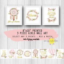 "Girls Nursery Room 3 Piece Prints Wall Art  8""x10"" Floral Feathers Mix & Match"