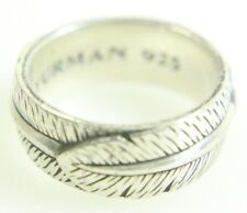 David Yurman Men's Sterling Silver 925 Frontier Feather Ring Band Size 10 (#63)