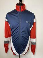 Puma Vintage Retro 1990's Blue & Red Trackie Tracksuit Zip Top Jacket L-XL RARE