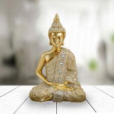 Deko Thai Buddha Figur sitzend in Gold Glitter Höhe 14 cm Feng Shui Statue