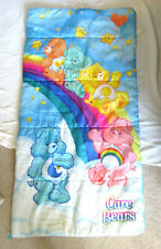 Vintage 80's CARE BEAR Kids Sleeping Bag Bears Cloud Rainbow Good condition