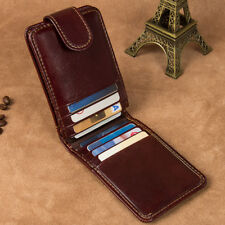 J.M.D Crazy Horse Leather Magnetic Money Clip Wallet ID Card Holder Purse