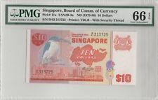 1979 Singapore Bird Series $10 Pmg 66