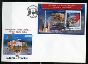 SAO TOME 2019 CHANG'E4 LUNAR PROBE SHEET FIRST DAY COVER