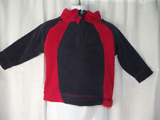BNWT Sz 0 Baby Boy's Mango Brand Red/Navy Warm Polar Fleece Zip Neck Jumper