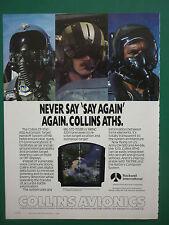 11/1989 PUB ROCKWELL COLLINS AVIONICS CP-1516/ASQ ATHS USAF GENTEX HELMET AD