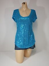 Allison Brittney Womens shirt Blue Sequin Cap Sleeve Scoop Neck Medium new
