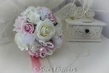 Wedding Flowers Bridesmaid Bouquet in Vintage & Pale Pink and Ivory