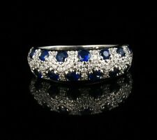 EFFY SIGNED NATURAL 1.44ctw BLUE SAPPHIRE DIAMOND SOLID 14K WHITE GOLD BAND RING