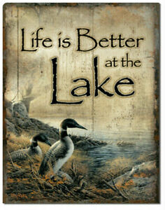 Life Is Better At The Lake Metal Tin Sign Outdoor Birds Fish Cabin Decor Gift