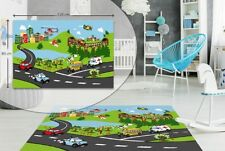 CITY TRAFFIC KIDS BEDROOM FLOOR RUG BOYS SOFT PLAY MAT CARPETS NON-SLIP WASHABLE