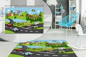 CITY TRAFFIC KIDS BEDROOM FLOOR RUG BOYS SOFT PLAY MAT CARPETS NON-SLIP WASHABLE