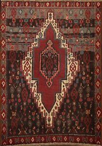 Vintage Geometric Tribal Senneh Area Rug Hand-knotted Oriental Wool Carpet 2'x3'