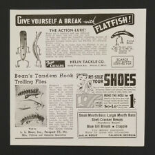 1944 Helin Flat Fish Lure LL Bean Tandem Hook Trolling Fly Fishing vintage ad